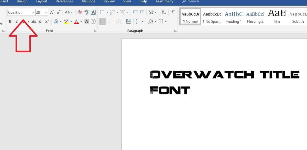 Selecting overwatch title font