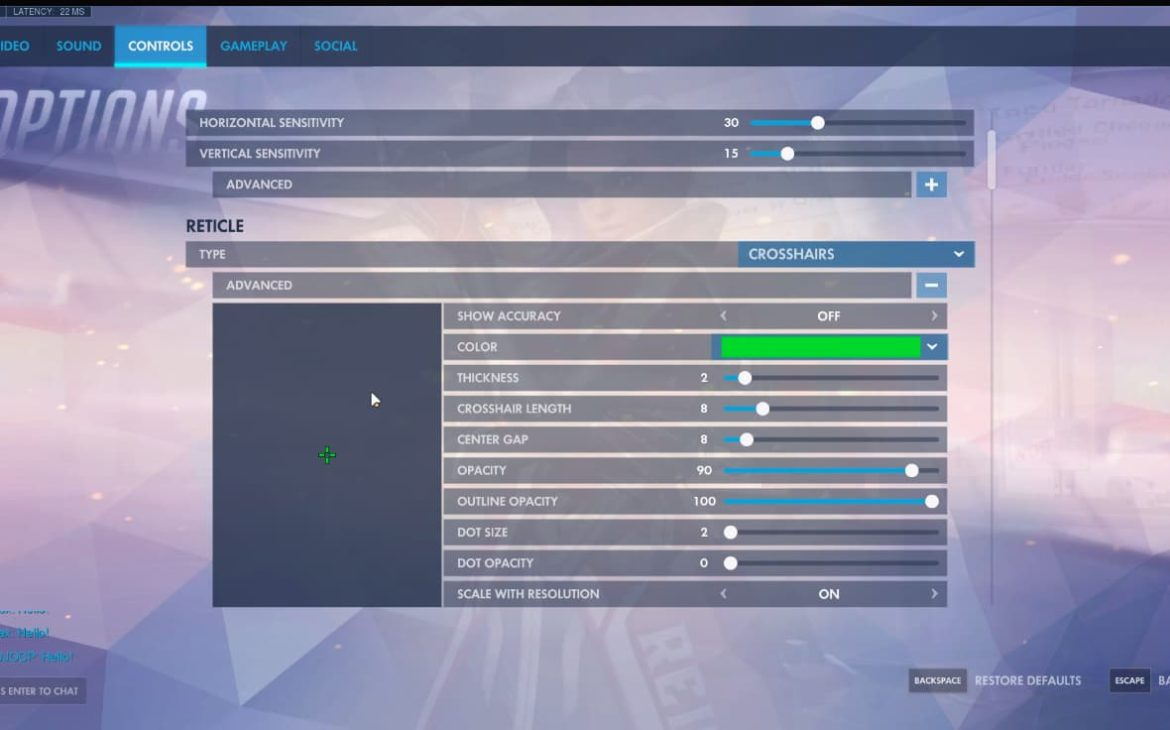 dafran overwatch settings crosshair