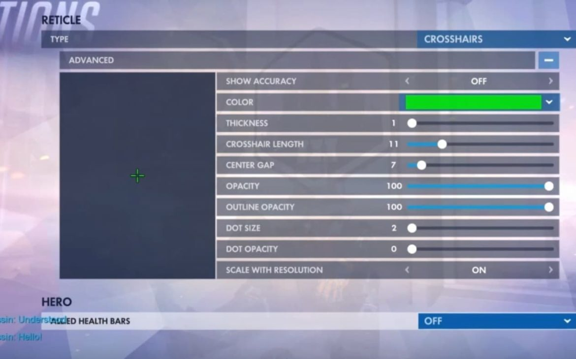 overwatch console crosshair settings