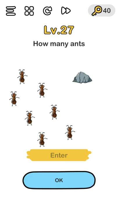 Brain out level 27 how many ants