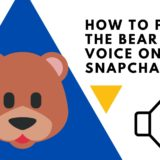 How to put the bear voice on Snapchat